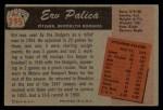 1955 Bowman #195 N Erv Palica  Back Thumbnail