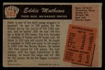1955 Bowman #103   Eddie Mathews Back Thumbnail