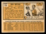 1963 Topps #236  Bill Bryan  Back Thumbnail
