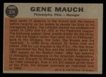 1962 Topps #374   Gene Mauch Back Thumbnail