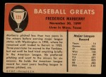 1961 Fleer #125  Fred Marberry  Back Thumbnail
