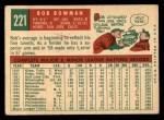 1959 Topps #221  Bob Bowman  Back Thumbnail