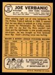 1968 Topps #29   Joe Verbanic Back Thumbnail