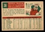 1959 Topps #38  Morrie Martin  Back Thumbnail