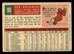 1959 Topps #99   Ted Kazanski Back Thumbnail