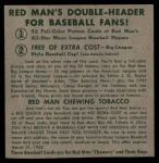 1952 Red Man #10 NLx  Larry Jansen Back Thumbnail