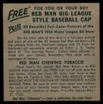 1954 Red Man #25 ALx Gil McDougald  Back Thumbnail