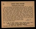 1941 Gum Inc. Uncle Sam Home Defense #56  Submarine Dive Drill  Back Thumbnail