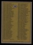 1974 Topps #498  Checklist 397-528  Back Thumbnail