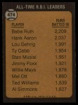 1973 Topps #474  All-Time RBI Leader  -  Babe Ruth Back Thumbnail