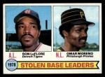 1979 Topps #4  1978 Stolen Base Leaders    -  Ron LeFlore / Omar Moreno Front Thumbnail