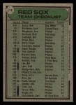 1979 Topps #214  Red Sox Team Checklist  -  Don Zimmer Back Thumbnail