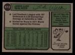 1974 Topps #612   Luke Walker Back Thumbnail