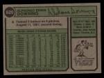 1974 Topps #620  Al Downing  Back Thumbnail