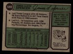 1974 Topps #580  Jim Spencer  Back Thumbnail