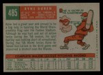 1959 Topps #485   Ryne Duren Back Thumbnail