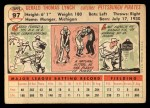1956 Topps #97   Jerry Lynch Back Thumbnail