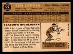 1960 Topps #97   Ted Lepcio Back Thumbnail