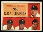 1961 Topps #46  1960 AL ERA Leaders  -  Jim Bunning / Frank Baumann / Hal Brown / Art Ditmar Front Thumbnail