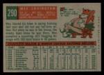 1959 Topps #290  Wes Covington  Back Thumbnail