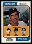 1974 Topps #447  Twins Field Leaders    -  Frank Quilici / Ver Morgan / Bob Rodgers / Ralph Rowe Front Thumbnail