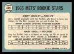 1965 Topps #449  Mets Rookies  -  Jerry Hinsley / Gary Kroll Back Thumbnail