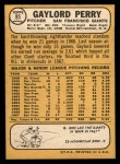 1968 Topps #85   Gaylord Perry Back Thumbnail