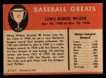 1961 Fleer #87   Hack Wilson Back Thumbnail