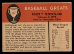 1961 Fleer #132   Roger Peckinpaugh Back Thumbnail