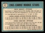 1965 Topps #477  Cardinals Rookies  -  Steve Carlton / Fritz Ackley Back Thumbnail