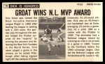 1964 Topps Giants #19  Dick Groat   Back Thumbnail