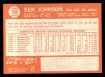 1964 Topps #158   Ken Johnson Back Thumbnail