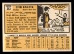 1963 Topps #363  Dick Radatz  Back Thumbnail