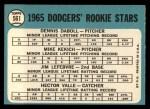 1965 Topps #561   -  Mike Kekich / Jim LeFebvre / Hector Valle / Dennis Daboll Dodgers Rookies Back Thumbnail