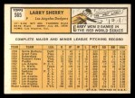 1963 Topps #565   Larry Sherry Back Thumbnail