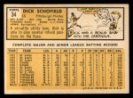 1963 Topps #34   Dick Schofield Back Thumbnail