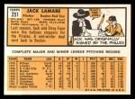 1963 Topps #251   Jack Lamabe Back Thumbnail