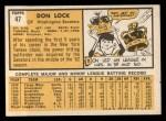 1963 Topps #47  Don Lock  Back Thumbnail