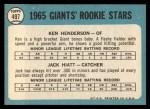 1965 Topps #497   Giants Rookie Stars  -  Ken Henderson / Jack Hiatt Back Thumbnail
