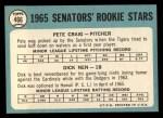 1965 Topps #466   Senators Rookie Stars  -  Pete Craig / Dick Nen Back Thumbnail