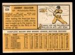 1963 Topps #434   Johnny Callison Back Thumbnail