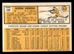 1963 Topps #430   Norm Siebern Back Thumbnail