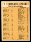 1963 Topps #3  NL HR Leaders  -  Hank Aaron / Willie Mays / Frank Robinson / Ernie Banks / Orlando Cepeda Back Thumbnail