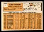 1963 Topps #22  Curt Simmons  Back Thumbnail