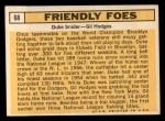 1963 Topps #68  Friendly Foes  -  Duke Snider / Gil Hodges Back Thumbnail