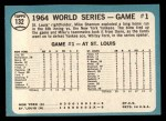 1965 Topps #132  1964 World Series - Game #1 - Cards Take Opener  -  Mike Shannon / Whitey Ford / Elston Howard Back Thumbnail