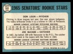 1965 Topps #181   Senators Rookie Stars  -  Don Loun / Joe McCabe Back Thumbnail