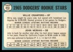 1965 Topps #453  Dodgers Rookies  -  Willie Crawford / John Werhas Back Thumbnail