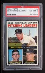 1964 Topps #4 B  -  Whitey Ford / Camilo Pascual / Jim Bouton AL Pitching Leaders Front Thumbnail