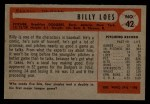 1954 Bowman #42  Billy Loes  Back Thumbnail